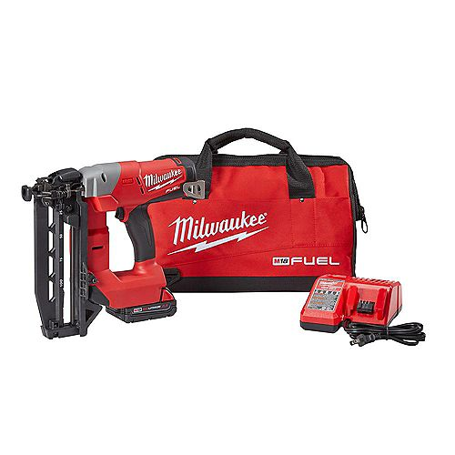 Milwaukee Tool M18 FUEL 18V Lithium-Ion Brushless Cordless 16-Gauge Straight Finish Nailer Kit W/ 2.0Ah Battery