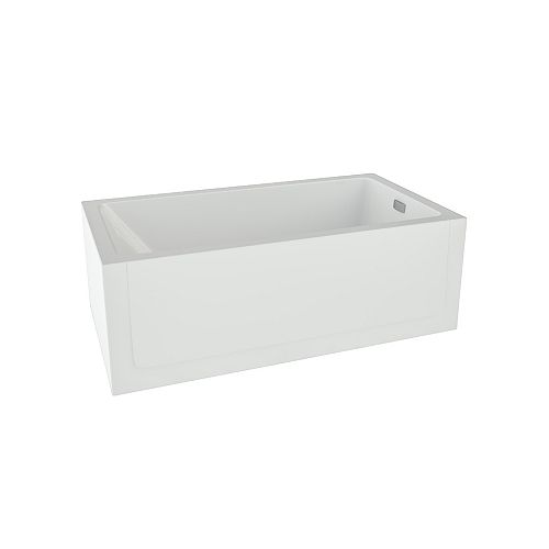 Mirolin Layla Acrylic Right-Hand Skirted Soaker Bathtub in White