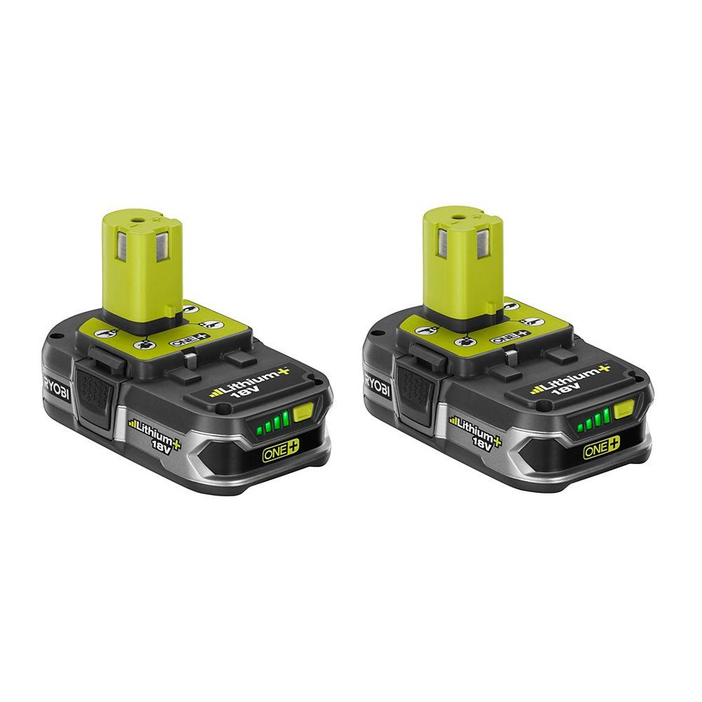 RYOBI 18V ONE+ Li-Ion Compact Lithium+ Battery Pack 1.5Ah (2-Pack)