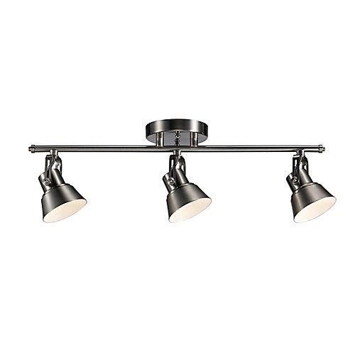 Rail d'éclairage à trois projecteurs à DEL orientables, nickel brossé- ENERGY STAR®