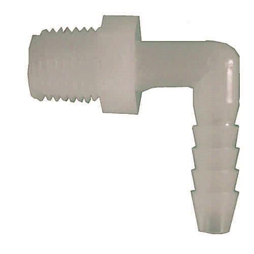 3/4 inch x 1/2 inch Plastic 90-Degree Barb x MIP Elbow