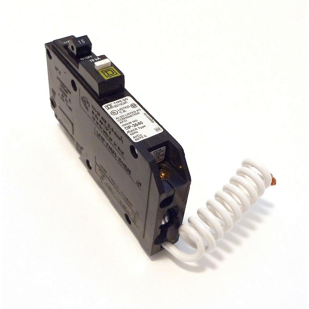 Square D Disjoncteur à fil spiralé combiné anti-arcs unipolaire de 15 A QO