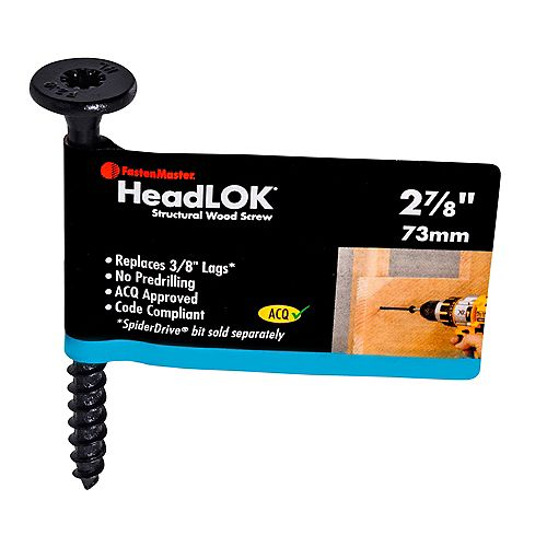 #3 x 2-7/8-inch Flat Head SpiderDrive(TM) HeadLOK(R) Structural Wood Screw in Black - 1pc
