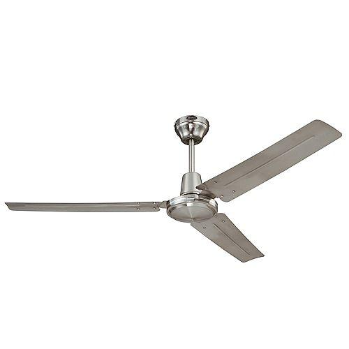 56-inch Industrial Ceiling Fan in Brushed Nickel