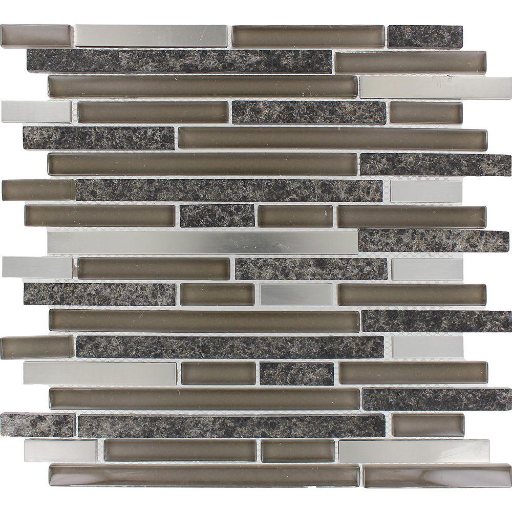 MSI Stone ULC 12-inch x 12-inch x 8 mm Glass/Metal/Stone Mesh-Mounted Mosaic Tile in Niagara (10 sq. ft./case)
