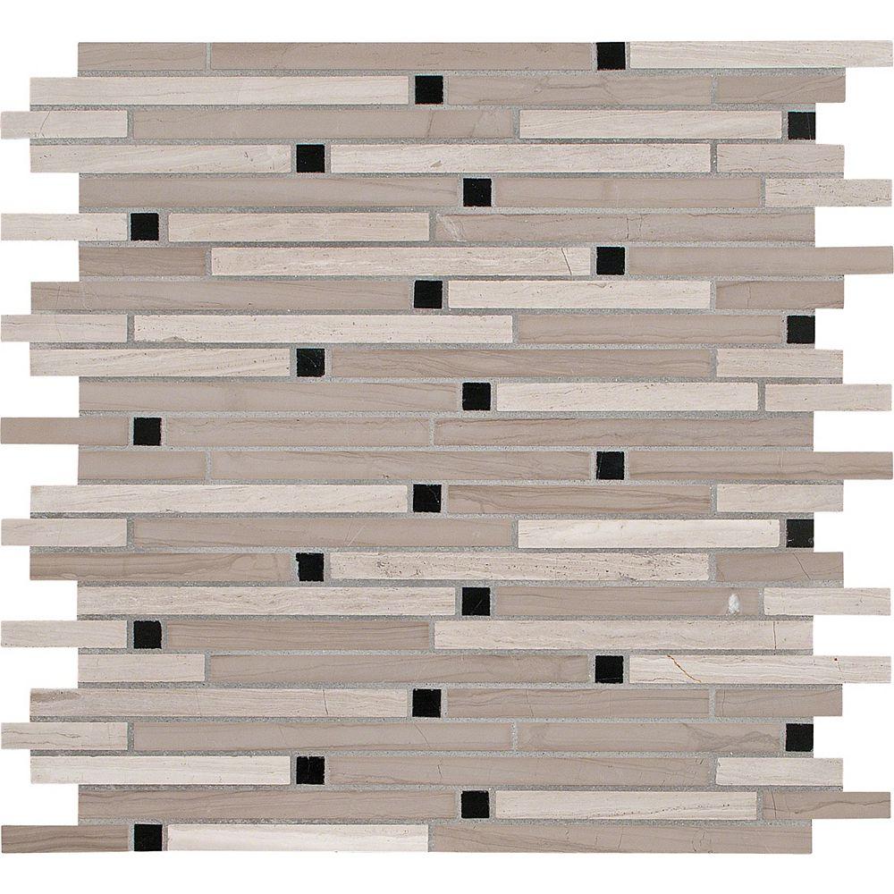 MSI Stone ULC 12-Inch x 12-Inch x 10 mm Honed Marble Interlocking Mosaic Tile in White Oak (10 sq. ft./case)