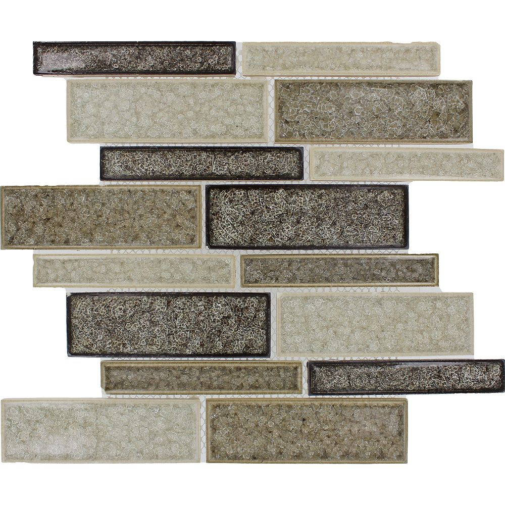 MSI Stone ULC Interlocking 12-inch x 12-inch x 8 mm Glass Mesh-Mounted Mosaic Tile in Fossil Canyon (10 sq. ft./case)