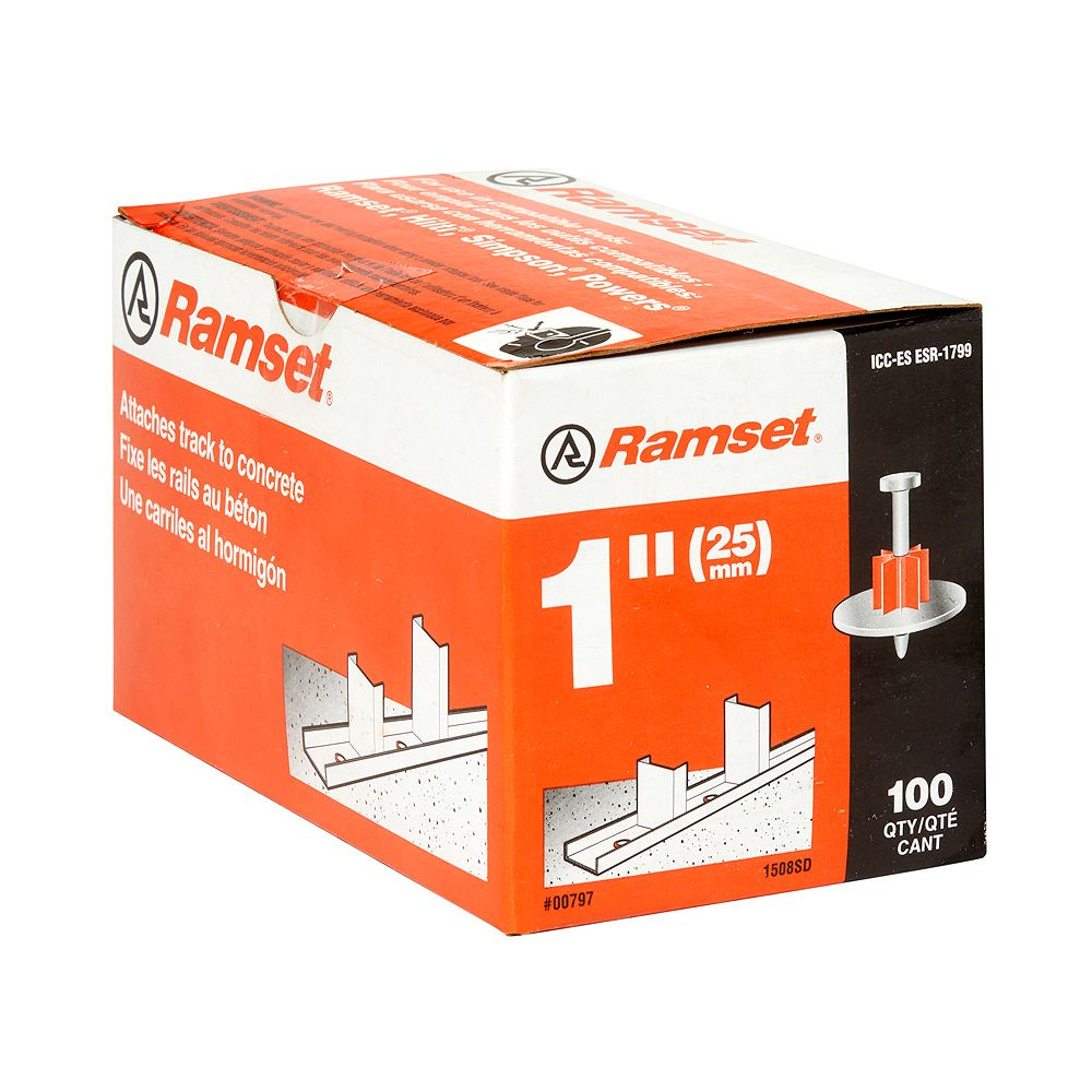 """Ramset Drive Pin: 1"""" Drive Pin with Washer (100-Pack)"""