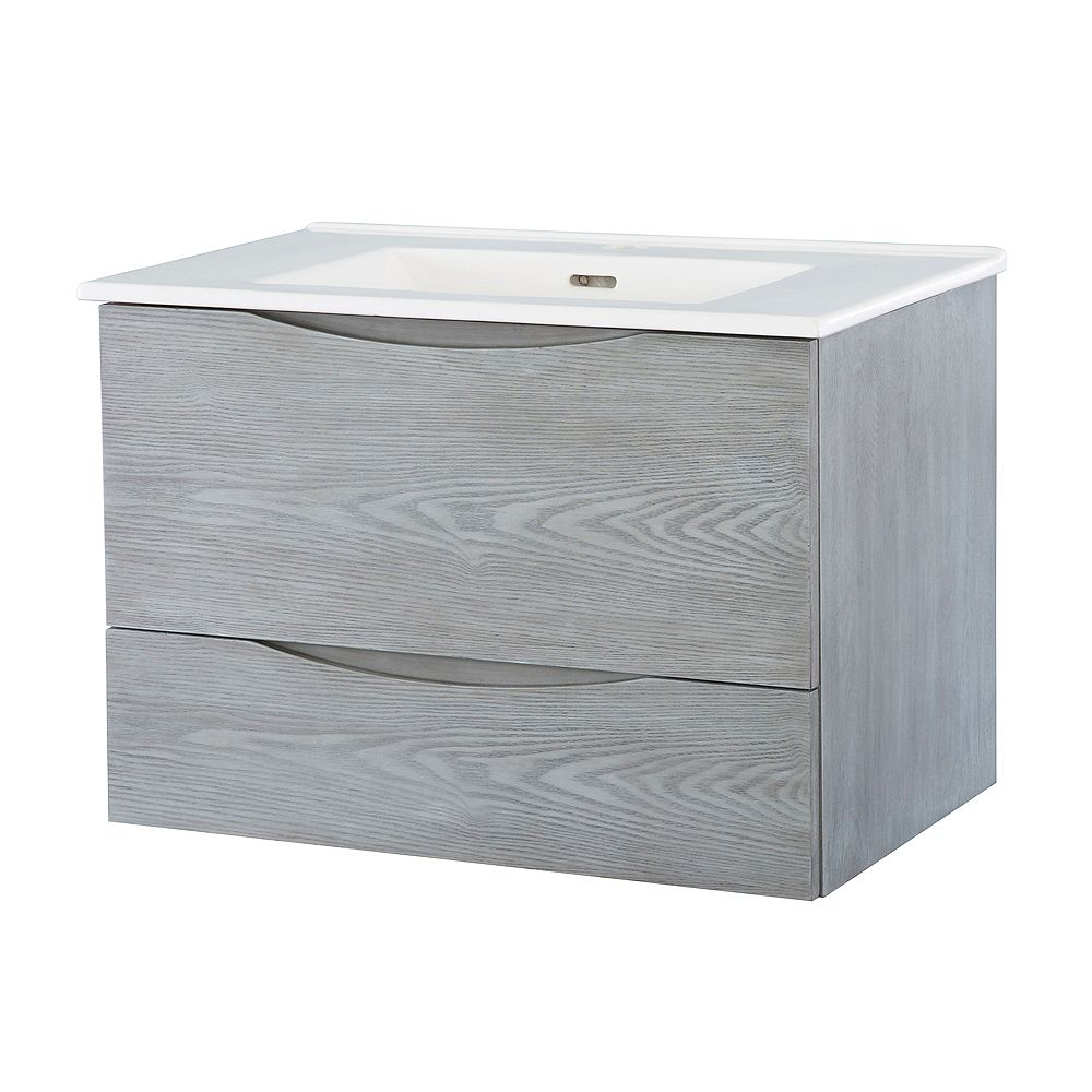 Home Decorators Collection 30-inch W Wall Hung Vanity in Ash Grey Finish with Vitreous China Top