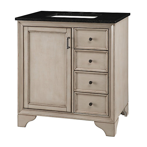 Hazelton 31-inch W Vanity in Antique Grey Finish with Granite Top in Black