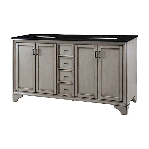 Hazelton 61-inch W Vanity in Antique Grey Finish with Granite Top in Black