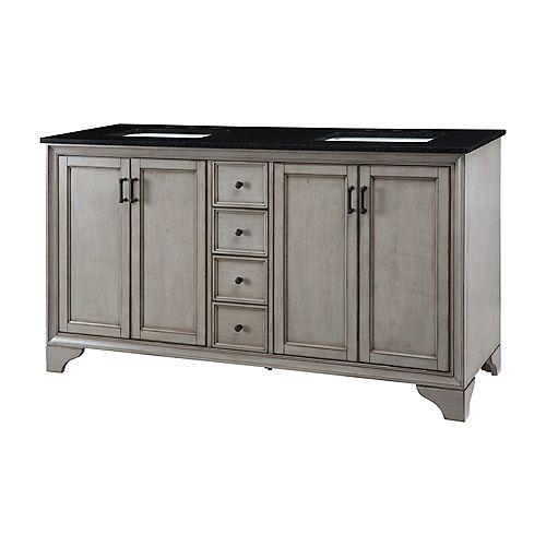 Hazelton 61-inch W Vanity in Antique Grey Finish with Granite Top in Black