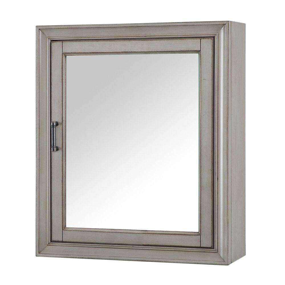 Home Decorators Collection Hazelton 24-inch W x 28-inch H Framed Surface-Mount Bathroom Medicine Cabinet in Antique Grey
