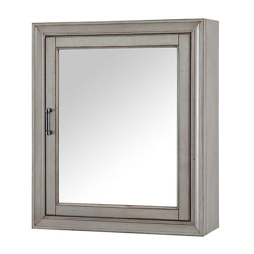 Hazelton 24-inch W x 28-inch H Framed Surface-Mount Bathroom Medicine Cabinet in Antique Grey