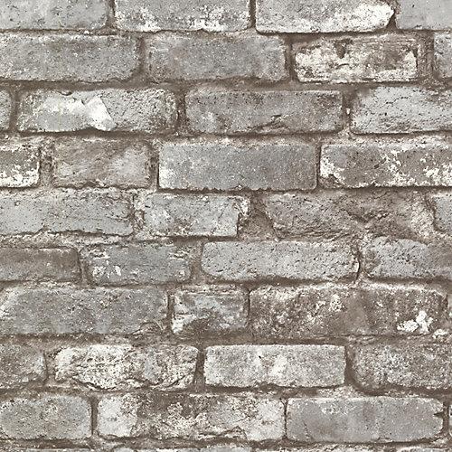 Brickwork 56 sq. ft. Pewter Exposed Brick Textured Wallpaper