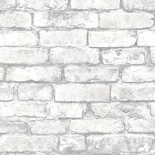 Brickwork 56 sq. ft. Light Grey Exposed Brick Wallpaper