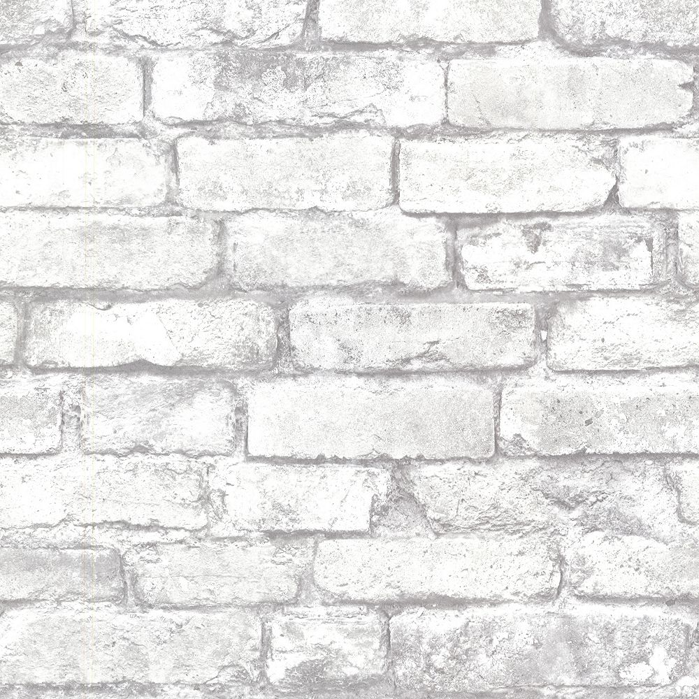Beacon House Brickwork 56 Sq Ft Light Grey Exposed Brick Wallpaper The Home Depot Canada