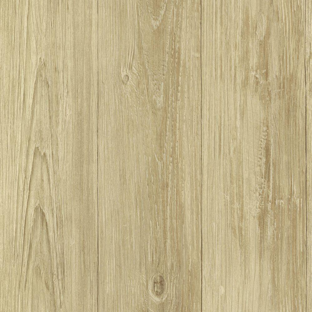 Chesapeake Cumberland Wheat Faux Wood Texture Wallpaper
