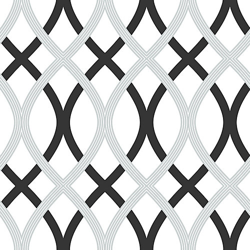 Black &Silver Lattice Pe;er et Coller Papier Peint