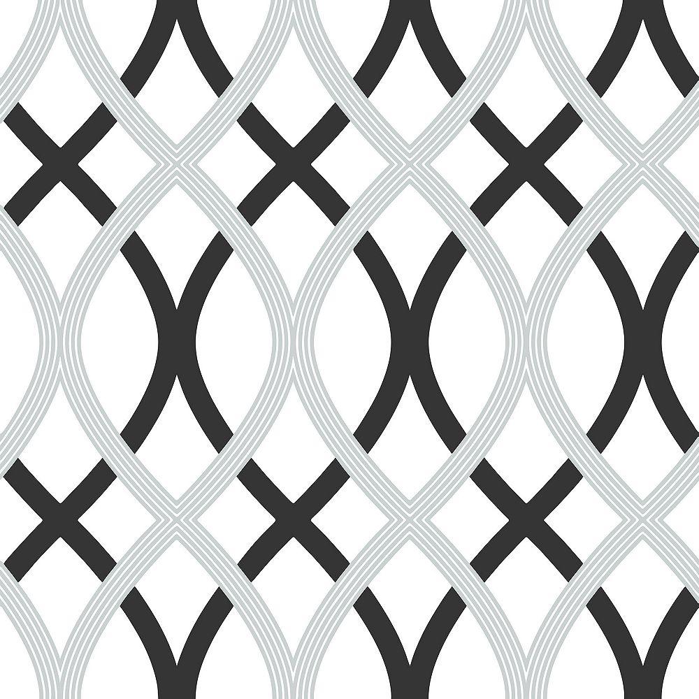 NuWallpaper Black and Silver Lattice Peel And Stick Wallpaper