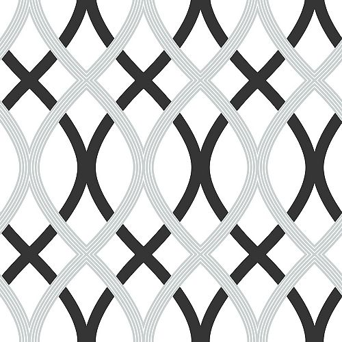 Black &Silver Lattice Pe;er et Coller Papier Peint