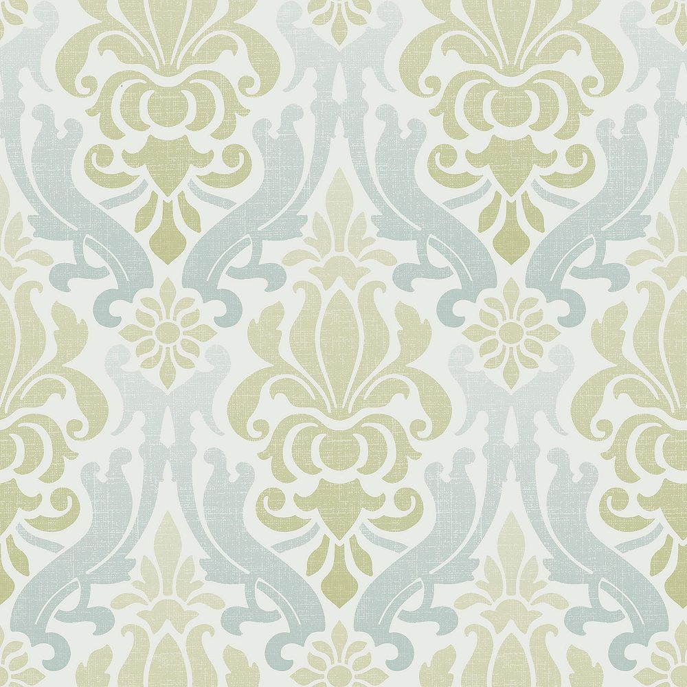 NuWallpaper Blue and Green Nouveau Damask Peel And Stick Wallpaper