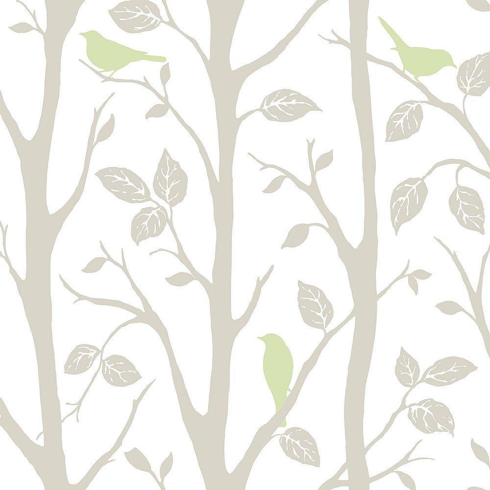 NuWallpaper Grey and Green Sitting In A Tree Peel And Stick Wallpaper