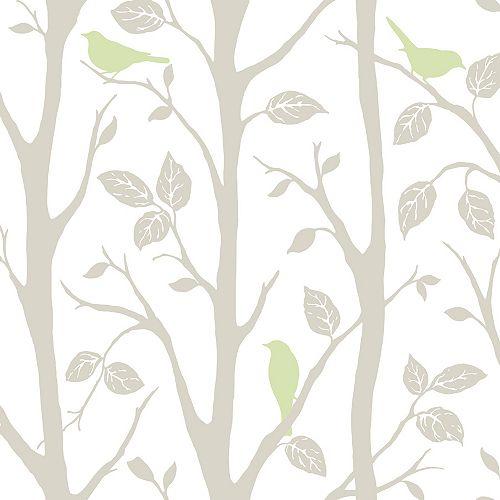Gris et Vert assis dans un arbre Peler et Coller Papier Pient
