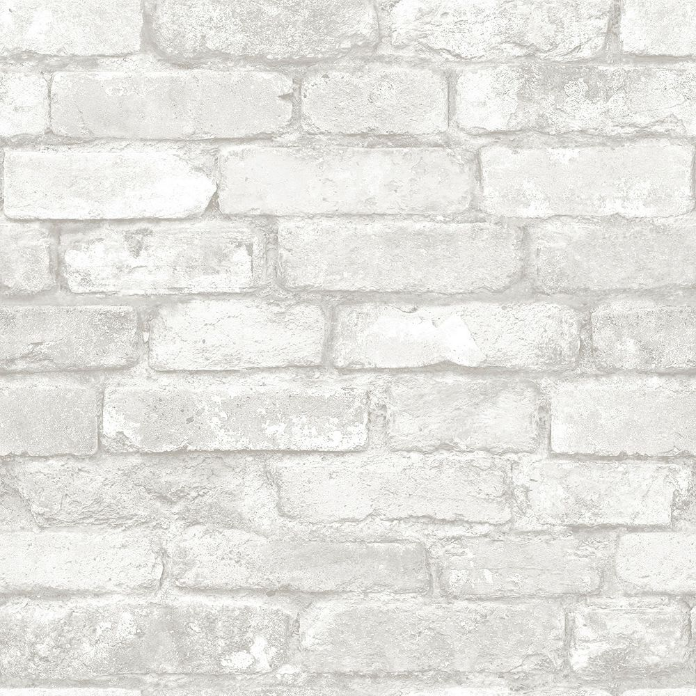 Nuwallpaper Brick Peel And Stick Wallpaper In Grey And White The Home Depot Canada