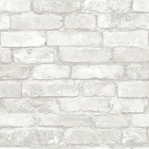 Brique Gris et Blanc Peler et Coller Papier Peint