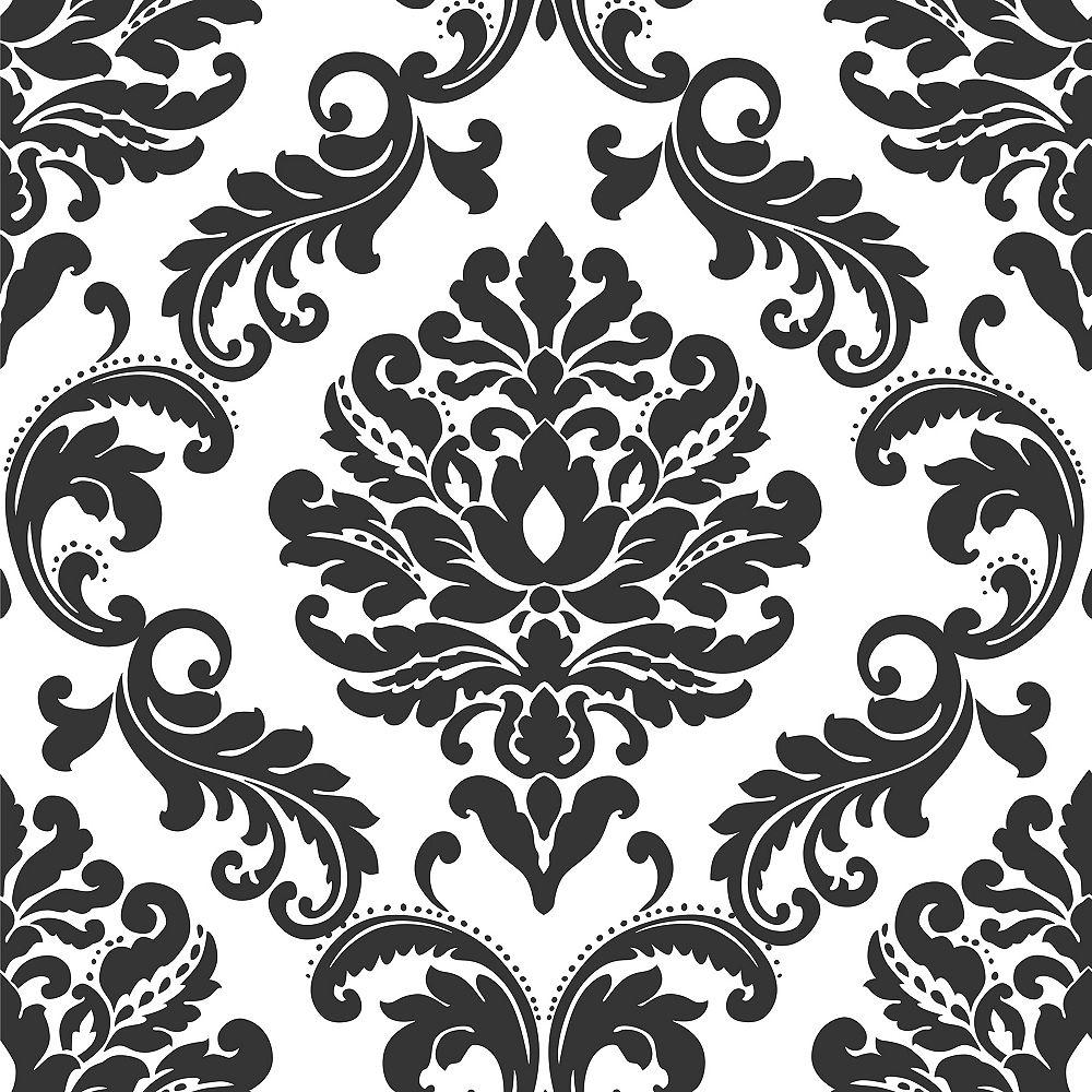 NuWallpaper Ariel Black and White Damask Peel And Stick Wallpaper