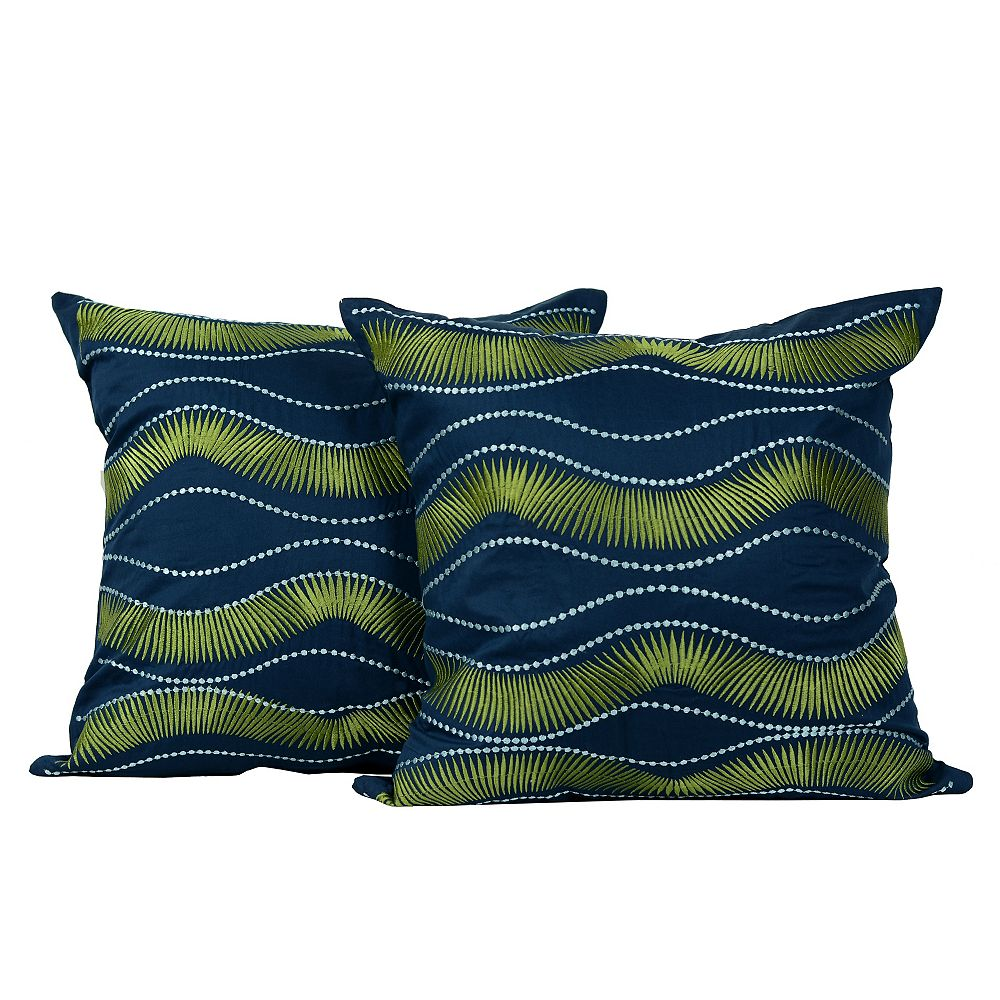 LJ Home Fashions Melody Embroidered Cotton 18-inch Square Decorative Cushion Set (2-Pack)