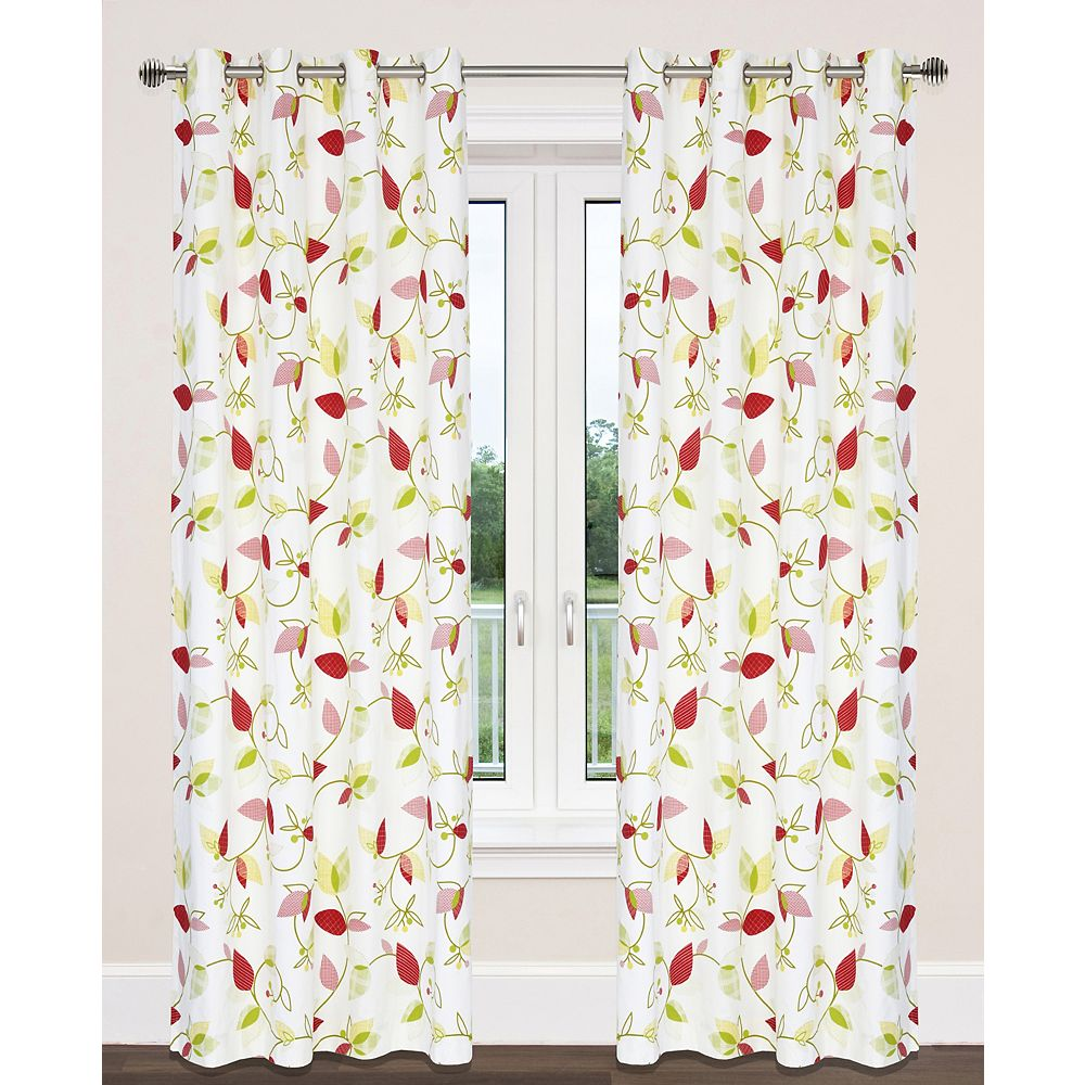 LJ Home Fashions Preston Cotton Floral Print Grommet Curtain Panels (Set of 2), 54 inchW x 95 inchL, White/Green/Yellow/Red