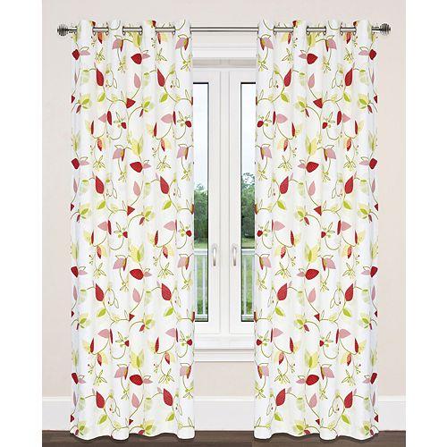 Preston de 2 rideaux au coton à illets imprimé feuilles, 54x95 po, blanc/vert/jaune/rouge