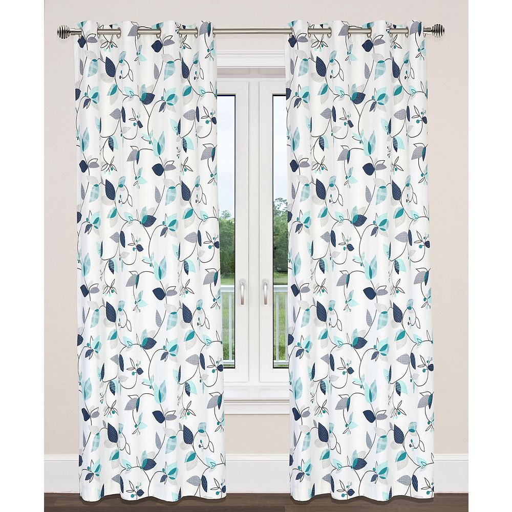 LJ Home Fashions Preston Cotton Floral Print Grommet Curtain Panels (Set of 2), 54 inchW x 95 inchL, White/Blue/Turquoise
