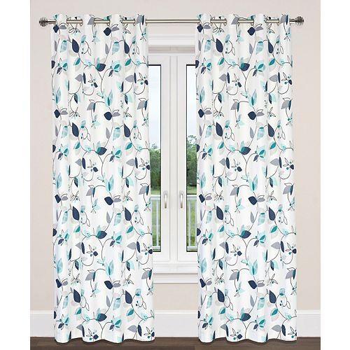 Preston de 2 rideaux au coton à illets imprimé feuilles, 54x95 po, blanc/bleu/turquoise