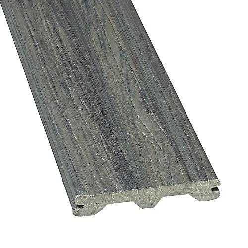 12 Pi. - Planche de terrasse en composite Elite rainurée - Panama Grey