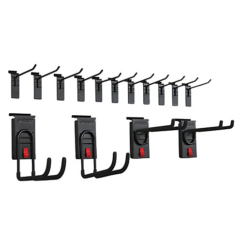 Track Wall Starter Hook Kit in Black (15-Piece)
