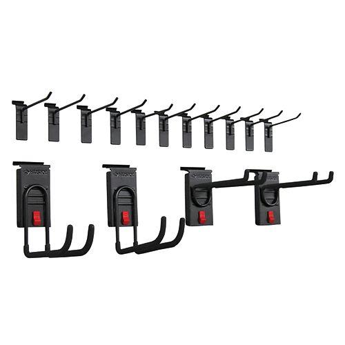 Track Wall Starter Hook Kit in Black (15-Piece)