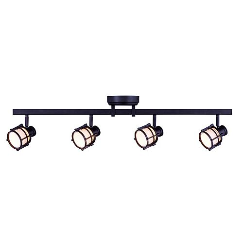 4-Light Antique Bronze Directional LED Track Lighting with Round White Glass Shades