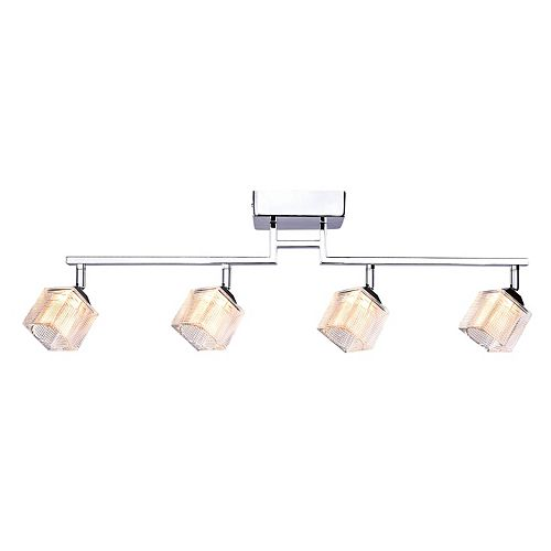 4-Light Directional LED Rail Fixture in Chrome with Prismatic Glass Shade