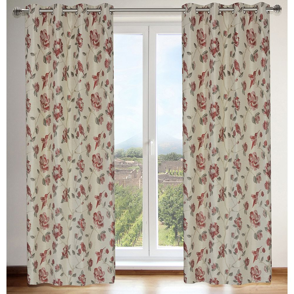 LJ Home Fashions Caitlin Floral 54x95-inch Grommet Curtain Set, Red/Grey (2-Pack)