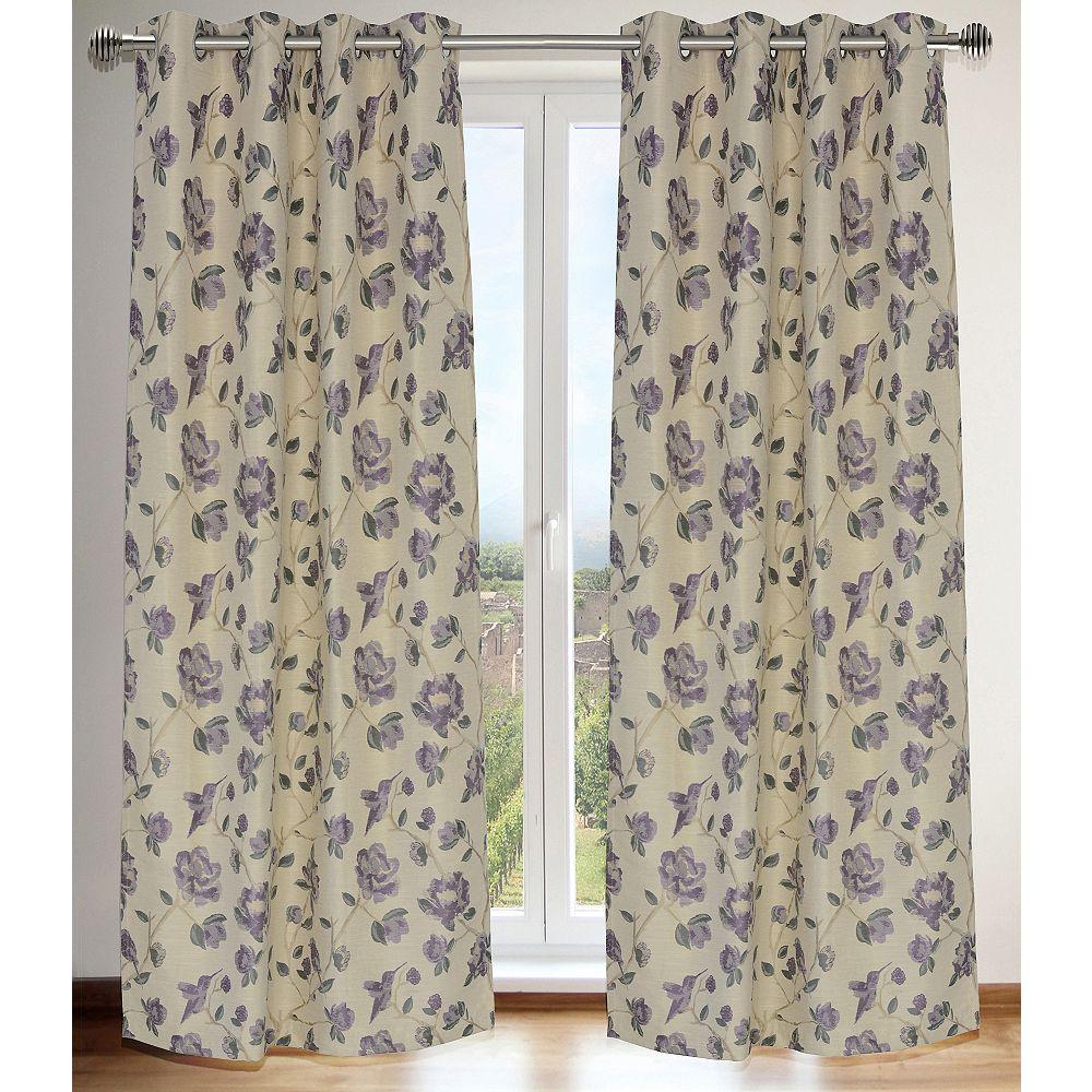 LJ Home Fashions Caitlin Floral Jacquard Grommet Curtain Panel Set, 54 inch W x 95 inch L