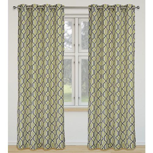 Linked de 2 rideaux à illets imprimé géométrique 52 x 95 po, ivoire/vert/brun