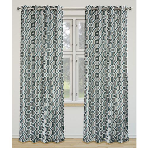 Linked de 2 rideaux à illets imprimé géométrique 52 x 95 po, ivoire/gris/sarcelle