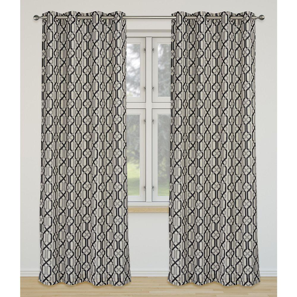LJ Home Fashions Linked Geometric Linen Grommet Curtain Panel Set 52 inch W x 95 inch L, Ivory/Grey/Black