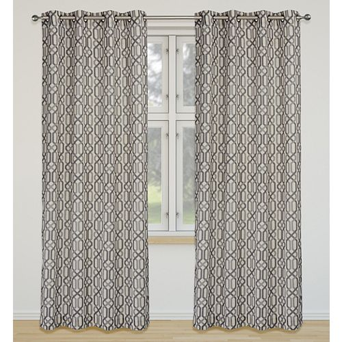 Linked de 2 rideaux à illets imprimé géométrique 52 x 95 po, ivoire/gris/argent