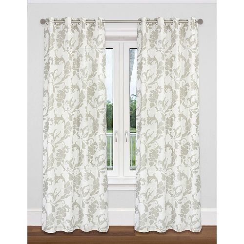 Dana de 2 rideaux à illets semi-voilage texturé motif floral, 54 x 95 po, blanc/gris