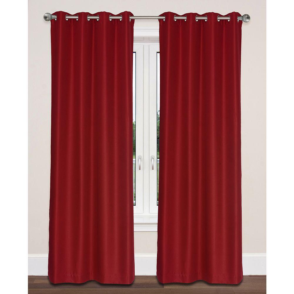 LJ Home Fashions Twilight Room Darkening Faux Silk Grommet Curtain Panels 54x95-in, Red (Set of 2)