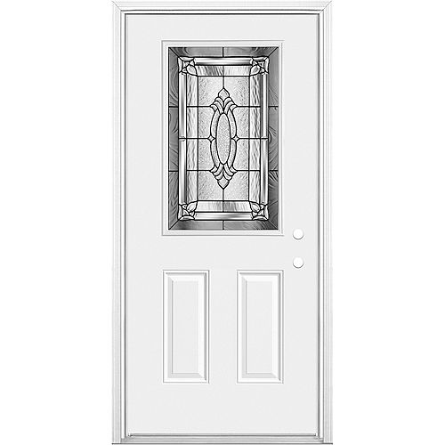 36 X 4 9/16 Antique Black 1/2 Lite Entry Door Lh (chatham)